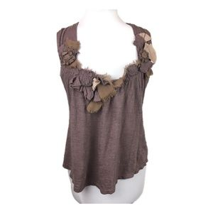 Anthropologie Deletta Sz XS Rosette trim tank top